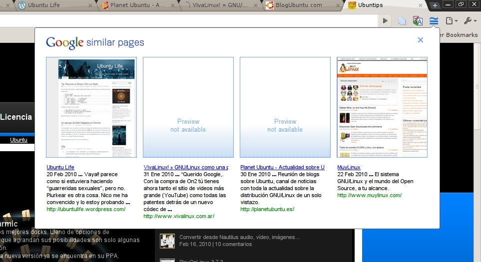 Buscando webs de temática similar | Ubuntu Life